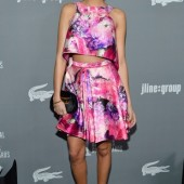 Ashley Madekwe in J. Mendel Floral Print Mikado Trapeze Top & A-line Skirt