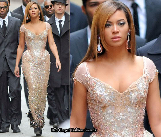 Beyonce Knowles nude beaded dress