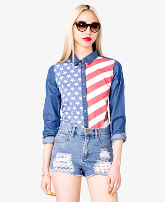 American Flag Denim Shirt - $22.80 - Forever 21