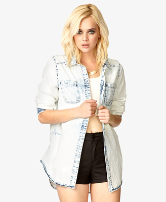Bleached Chambray Boyfriend Shirt 37.80 Forever 21