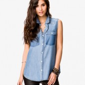 Buttoned Chambray Shirt - $22.80 - Forever 21