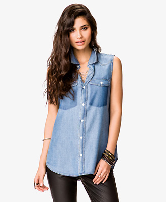 Buttoned Chambray Shirt 22.80 Forever 21