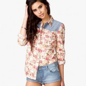 Chambray Rose Print Shirt - $19.80  - Forever 21
