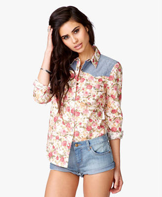 Chambray Rose Print Shirt 19.80 Forever 21