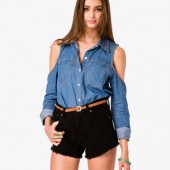 Cutout Denim Shirt - $22.80 - Forever 21