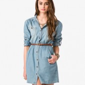 Denim Dress w/ Belt - $24.80 - Forever 21
