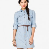 Denim Shirt Dress w/ Belt - $24.80 - Forever 21