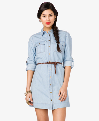 Denim Shirt Dress w Belt 24.80 forever 21
