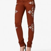 Embroidered Tribal Print Skinny Jeans - $27.80 - Forever 21