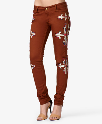 Embroidered Tribal Print Skinny Jeans 27.80 Forever 21