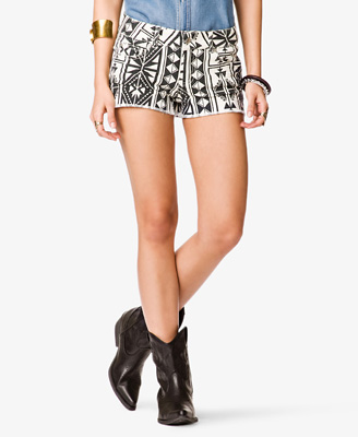 Ganado Print Denim Shorts 19.80 Forever 21