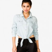 Knotted Denim Shirt - $19.80 - Forever 21