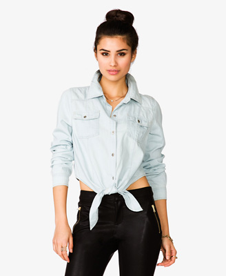 Knotted Denim Shirt 19.80 Forever 21