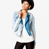 Mineral Wash Denim Moto Jacket - $29.80 - Forever 21