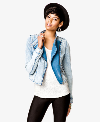 Mineral Wash Denim Moto Jacket 29.80 Forever 21