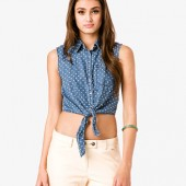 Polka Dot Chambray Shirt - $15.80 - Forever 21