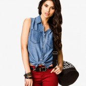 Snap Button Chambray Shirt - $19.80 - Forever 21