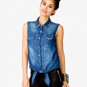 Spiked Chambray Shirt - $24.80 - Forever 21