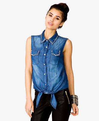 Spiked Chambray Shirt 24.80 Forever 21