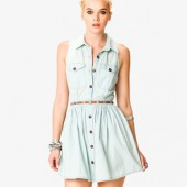 Stonewashed Denim Shirtdress w/ Belt  - $24.80 - Forever 21