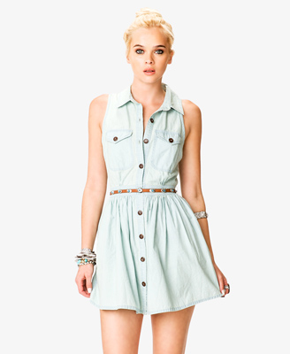 Stonewashed Denim Shirtdress w Belt  24.80 Forever 21