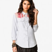 Striped Yoke Denim Shirt - $22.80 - Forever 21