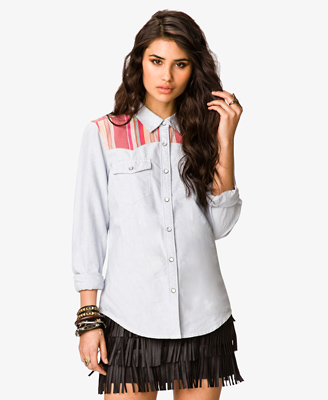Striped Yoke Denim Shirt 22.80 Forever 21