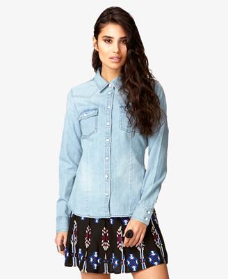 Western-Style Denim Shirt 22.80 Forever 21