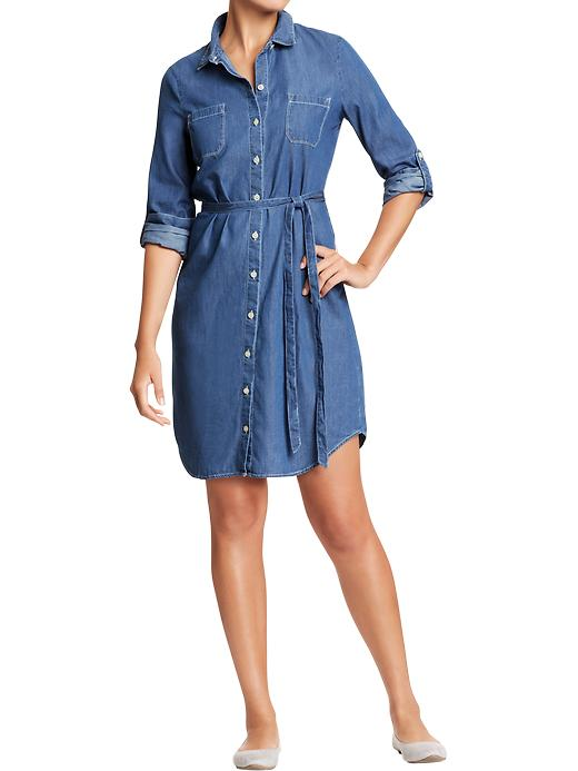 Chambray Belted-Shirt Dresses 25.00 - Old Navy