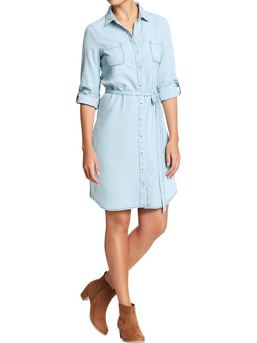 Chambray Belted-Shirt Dresses light 25.00 Old Navy