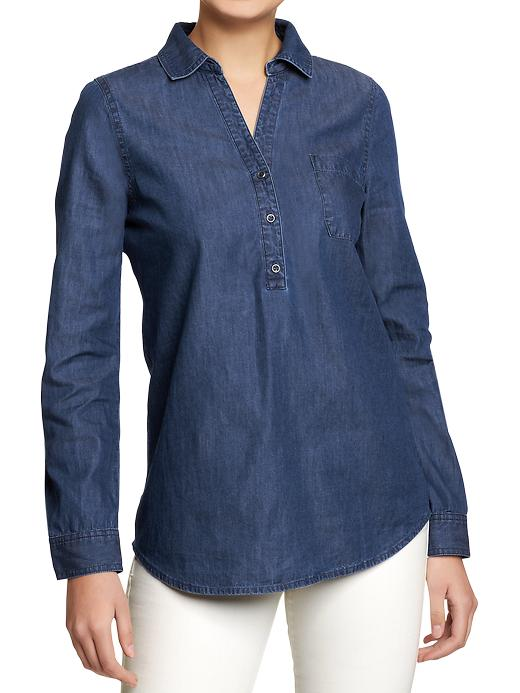 Chambray Button-Yoke Tops 16.99 Old Navy