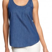 Pocket-Chambray Tanks - $12.99 - Old Navy