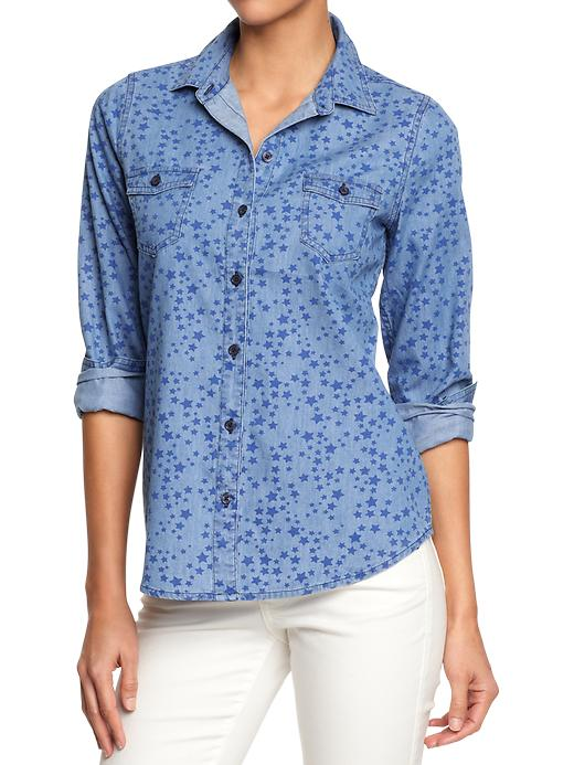 Printed Chambray Shirts 11.99 Old Navy