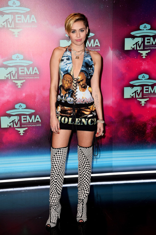 Miley Cyrus wearing Biggie Tupac dress