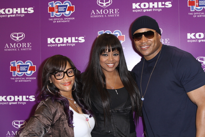 Simone I. Smith, Shanice Wilson-Knox and LLCOOLJ attend Amore by Simone I. Smith Collection Debut at Kohl's on October 26, 2013 in Los Angeles, California.
