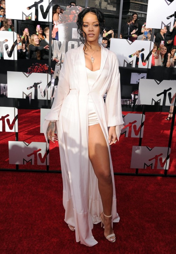 Rihanna in a nightgown