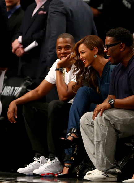 Jay Z and Beyonce at Nets game after elevator tape